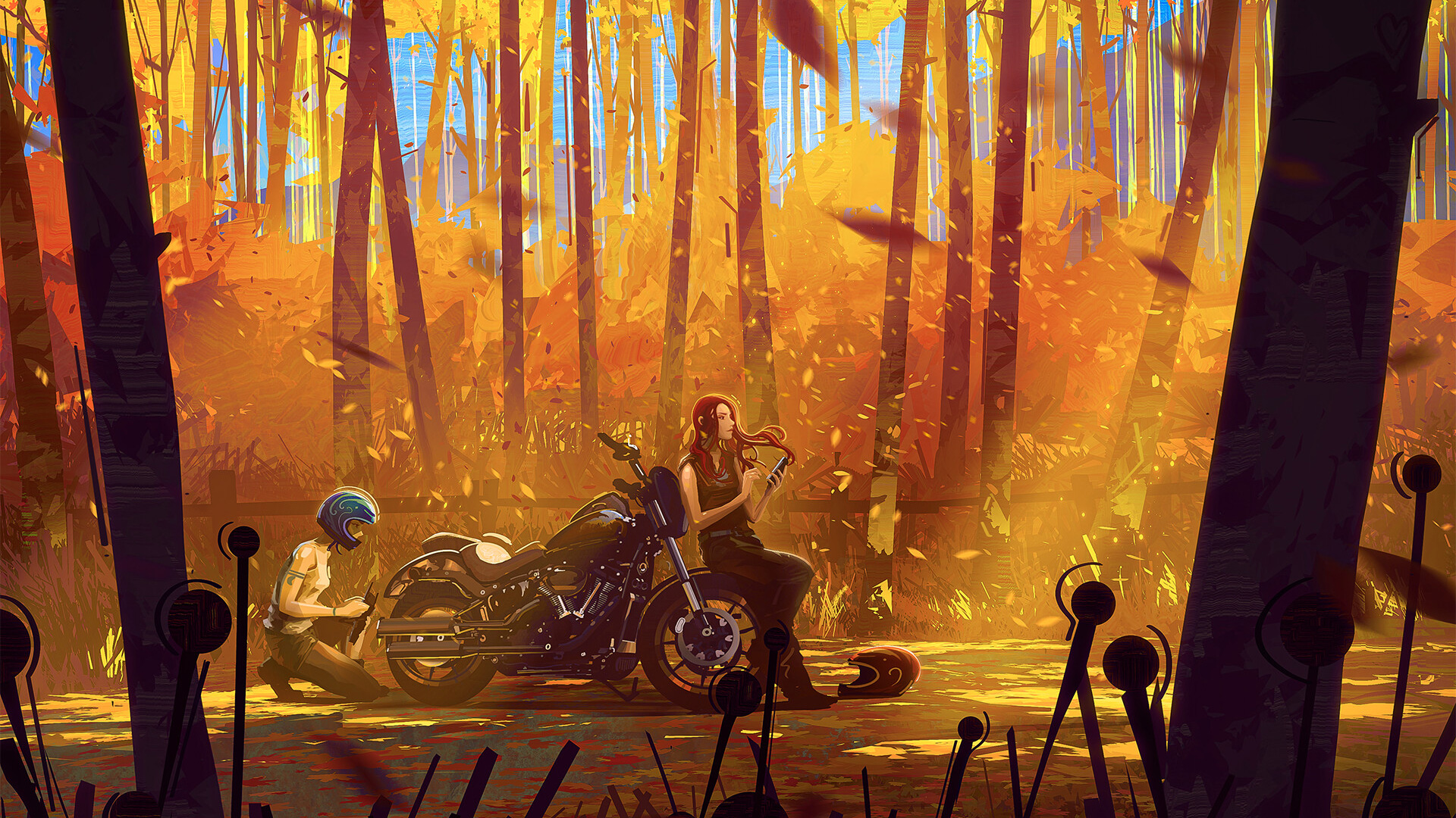 Biker and girl artistic drawing