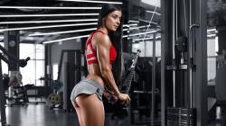 Triceps workout woman model