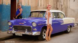 Blonde model in Cuba Havana