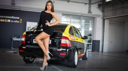 Lada Priora and hot legs woman