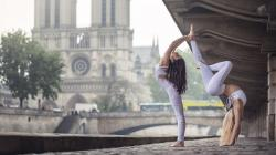 Dancers on the Notre Dame background